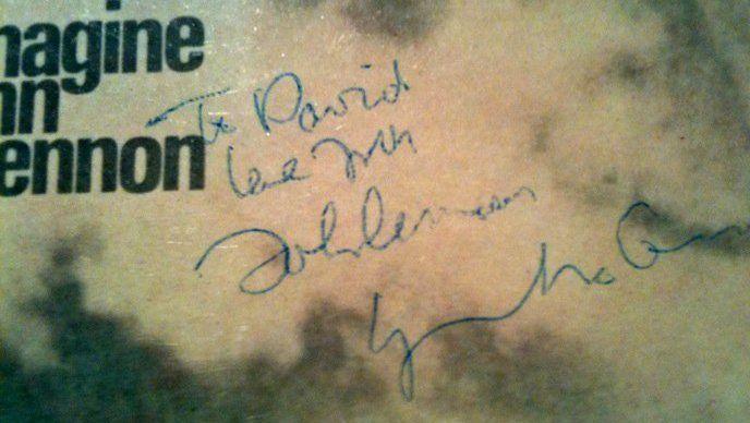 Imagine album, autographed by John Lennon to Dr. Grinspoon's son David.
