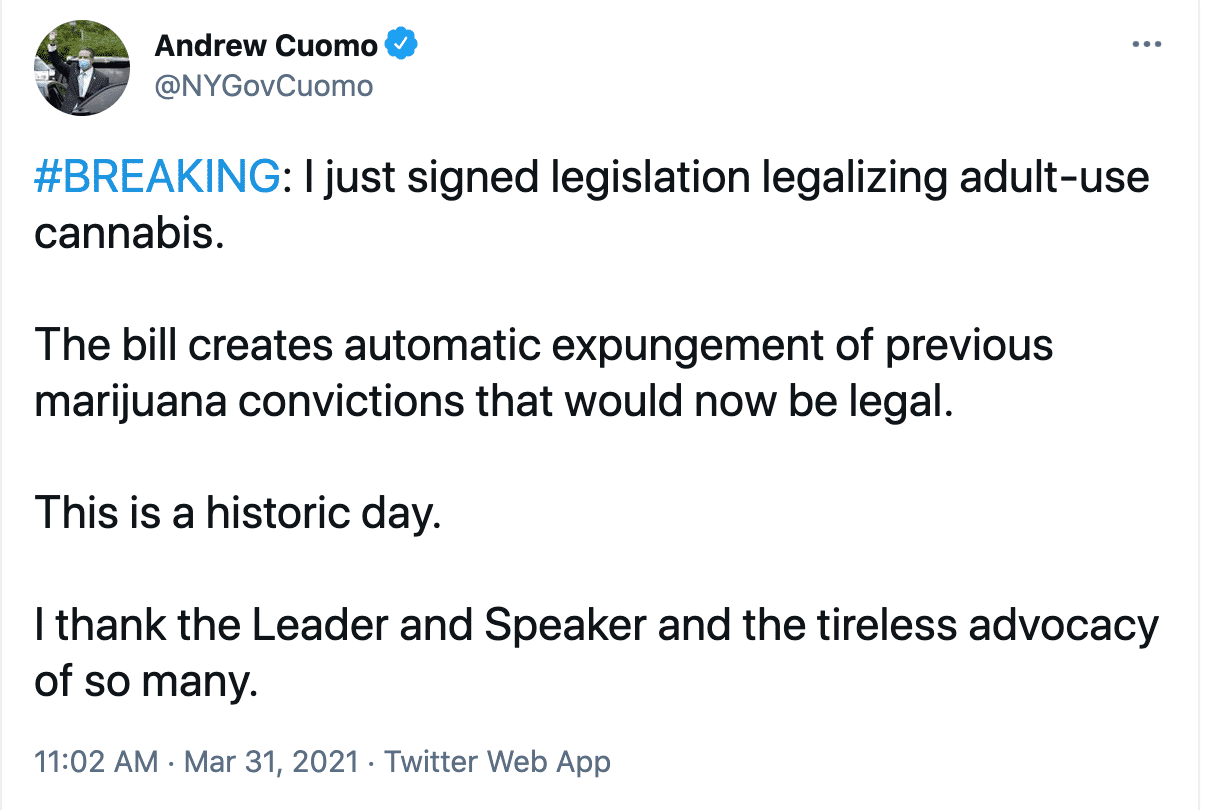 Governor Andrew Cuomo's Tweet Announcing The Law